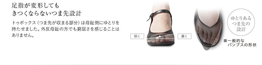 足指が変形してもきつくならないつま先設計